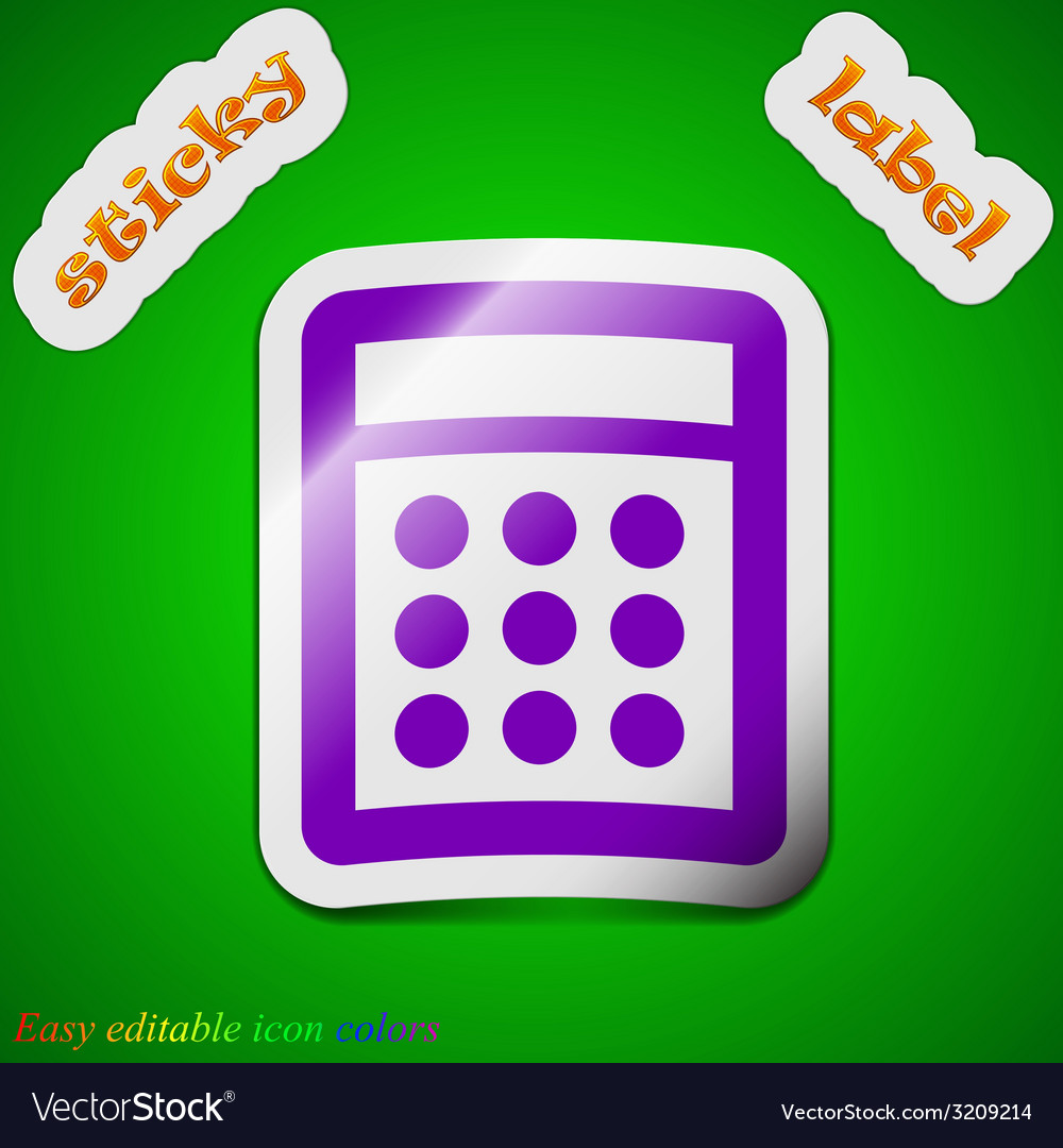 Calculator icon sign symbol chic colored sticky vector | Price: 1 Credit (USD $1)
