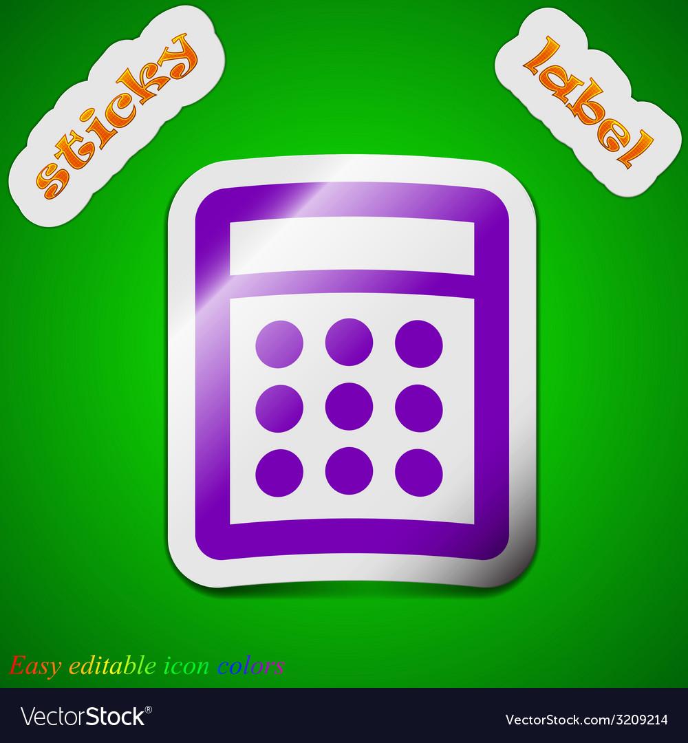 Calculator icon sign symbol chic colored sticky vector   Price: 1 Credit (USD $1)
