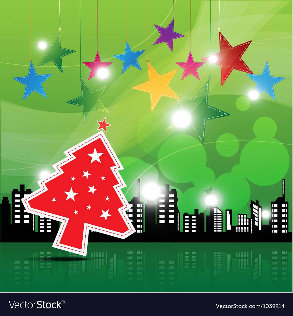 Christmas festival background in the city vector | Price: 1 Credit (USD $1)