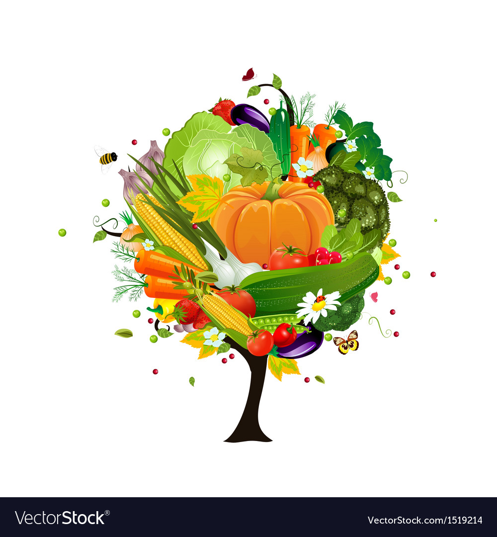 Decorative tree vegetable vector | Price: 1 Credit (USD $1)