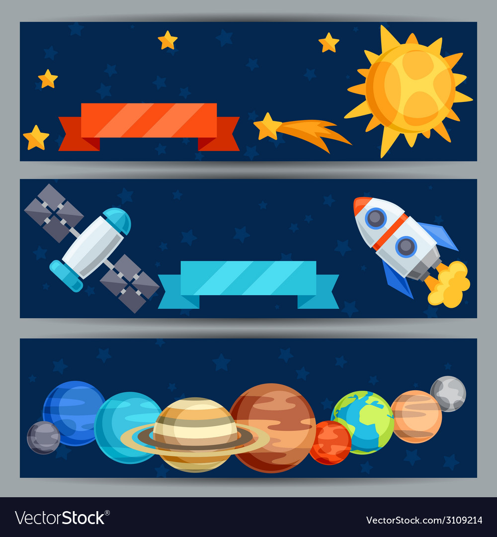 Horizontal banners with solar system and planets vector | Price: 1 Credit (USD $1)