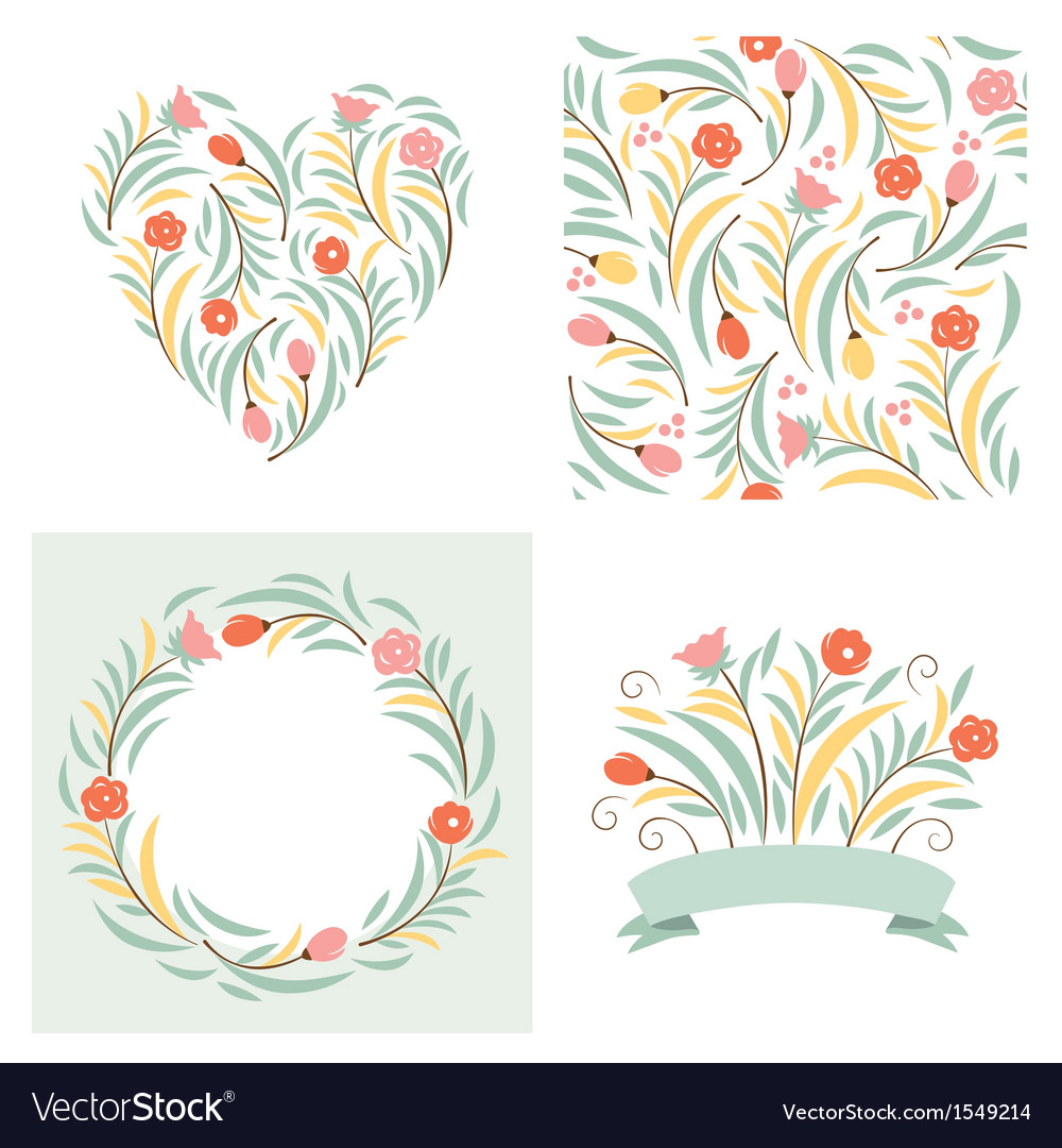 Set of floral elements vector | Price: 3 Credit (USD $3)