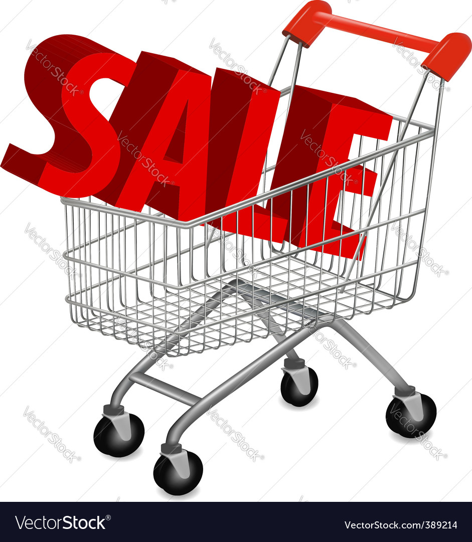 Shopping cart with sale vector | Price: 1 Credit (USD $1)