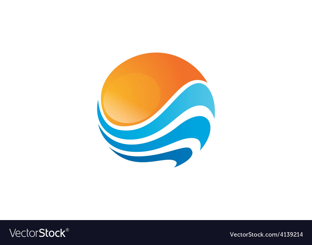 Sphere round wave water sun abstract logo vector | Price: 1 Credit (USD $1)