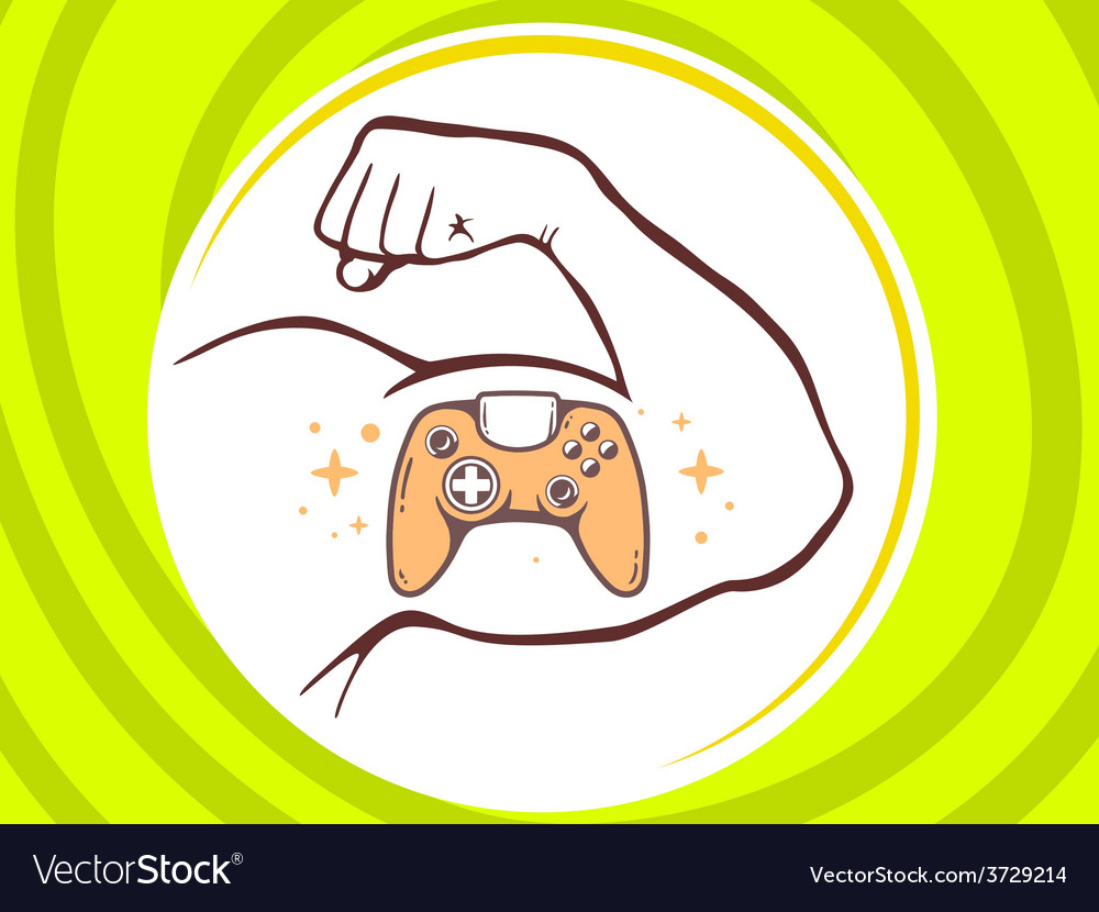 Strong man hand with icon of joystick on vector | Price: 1 Credit (USD $1)