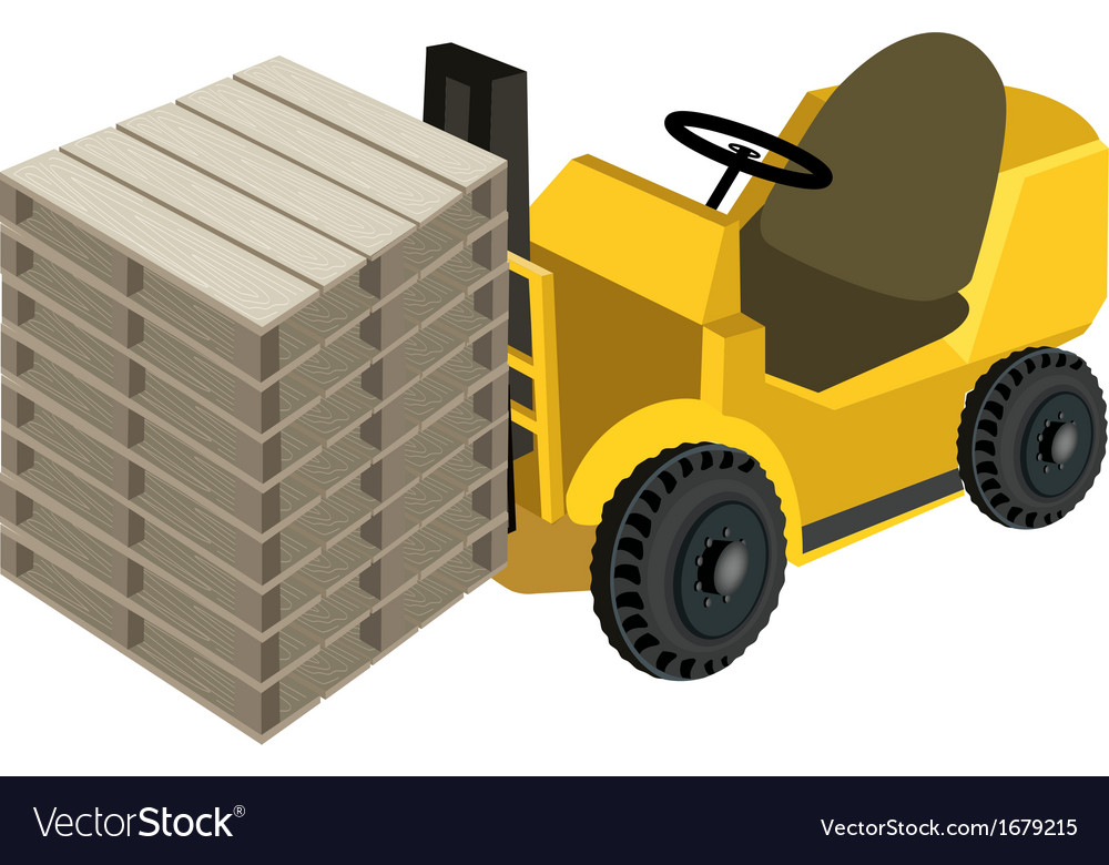 A forklift truck loading stack of wood pallets vector | Price: 1 Credit (USD $1)