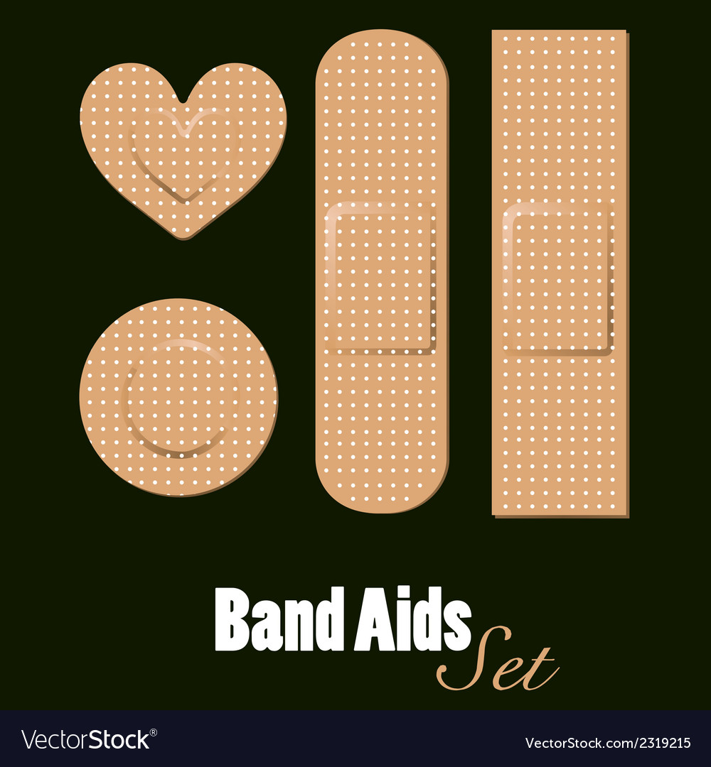 Band aids set of diferents forms vector | Price: 1 Credit (USD $1)