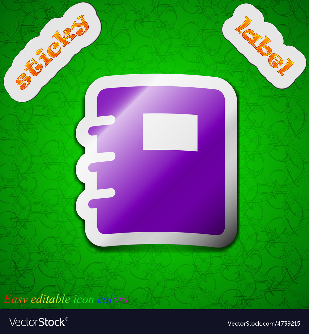 Book icon sign symbol chic colored sticky label on vector | Price: 1 Credit (USD $1)