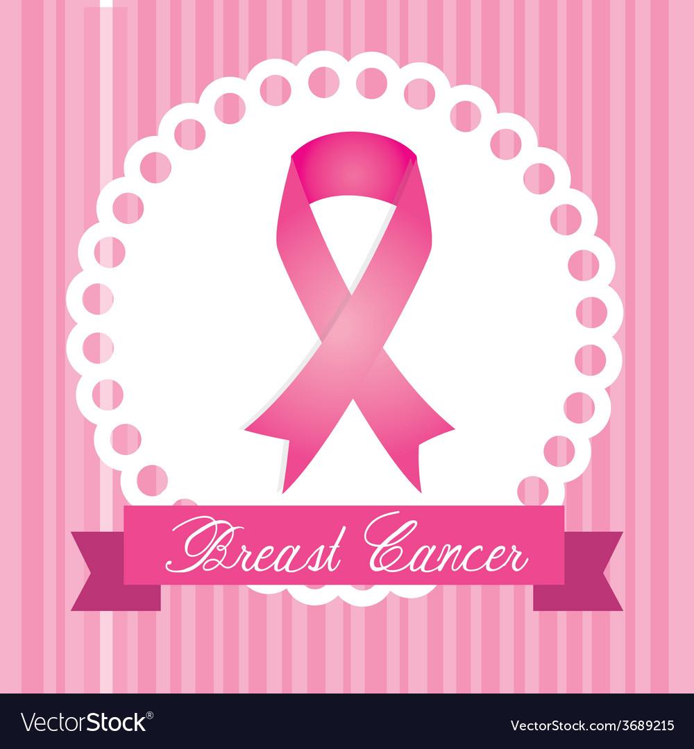 Cancer design over pink stripes background vector | Price: 1 Credit (USD $1)