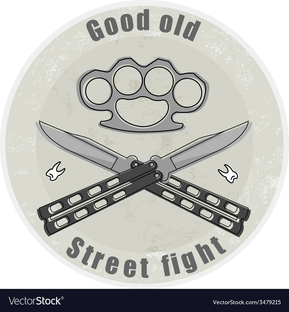 Crossed butterfly knifes with steel brass knuckle vector | Price: 1 Credit (USD $1)