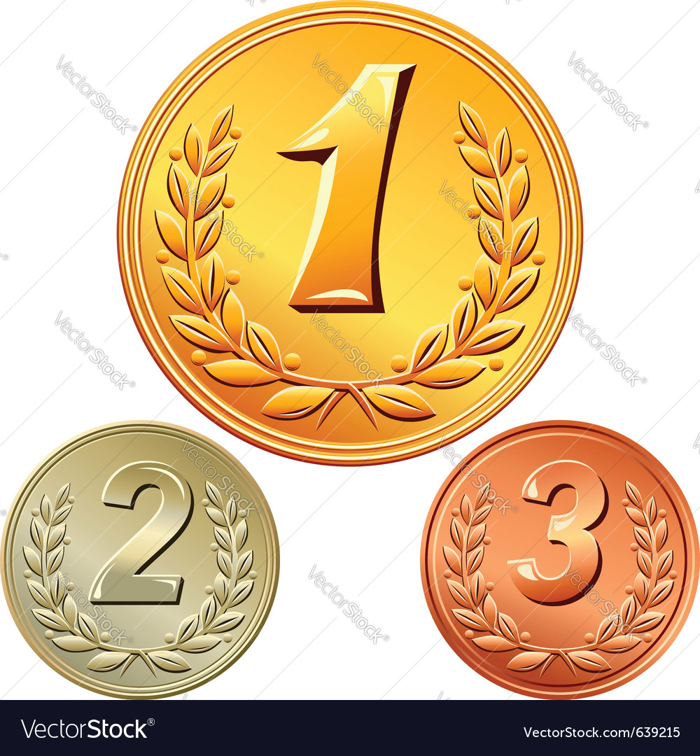 Gold silver and bronze medal vector | Price: 1 Credit (USD $1)