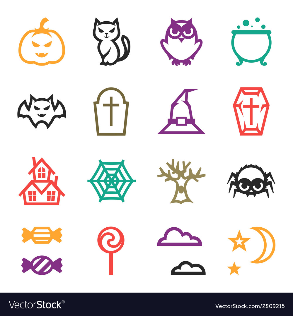 Happy halloween icon set in flat design style vector | Price: 1 Credit (USD $1)