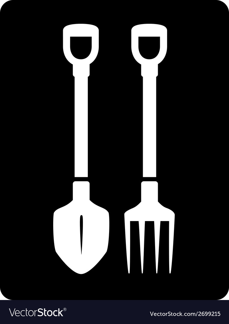 Pitchfork and bayonet spade garden icon vector