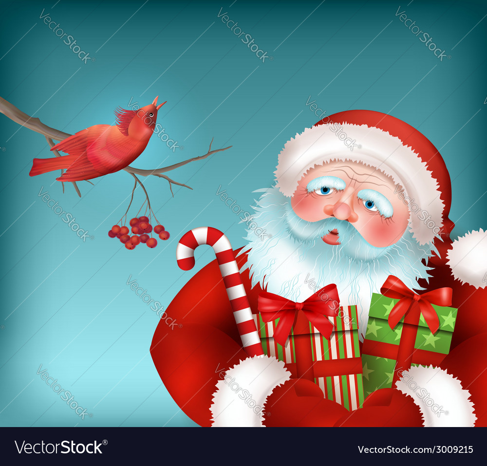 Santa is listening to the bird singing vector | Price: 1 Credit (USD $1)