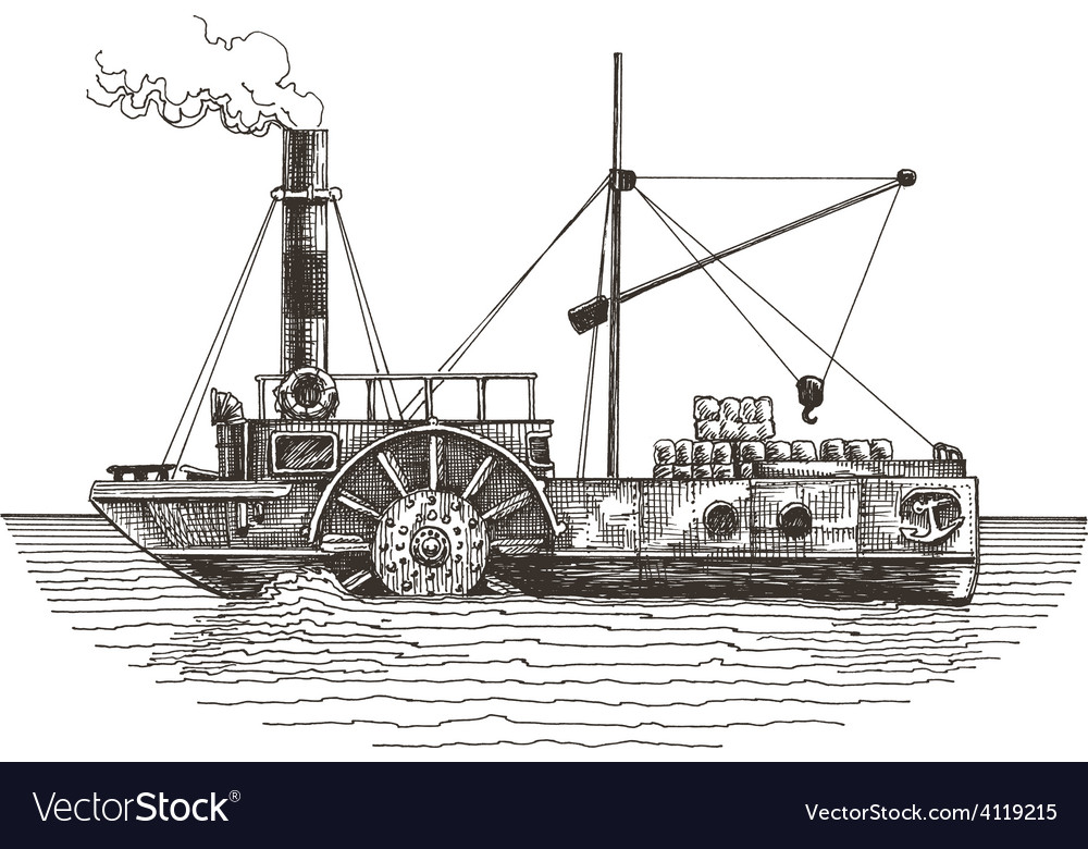 Ship logo design template steamboat or vector | Price: 3 Credit (USD $3)
