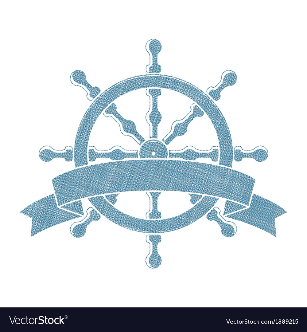 Ship wheel with banner nautical emblem vector | Price: 1 Credit (USD $1)