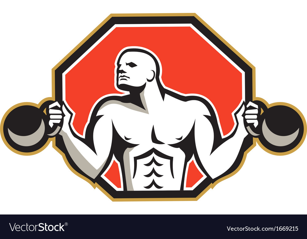 Strongman lifting kettlebell front retro vector | Price: 1 Credit (USD $1)