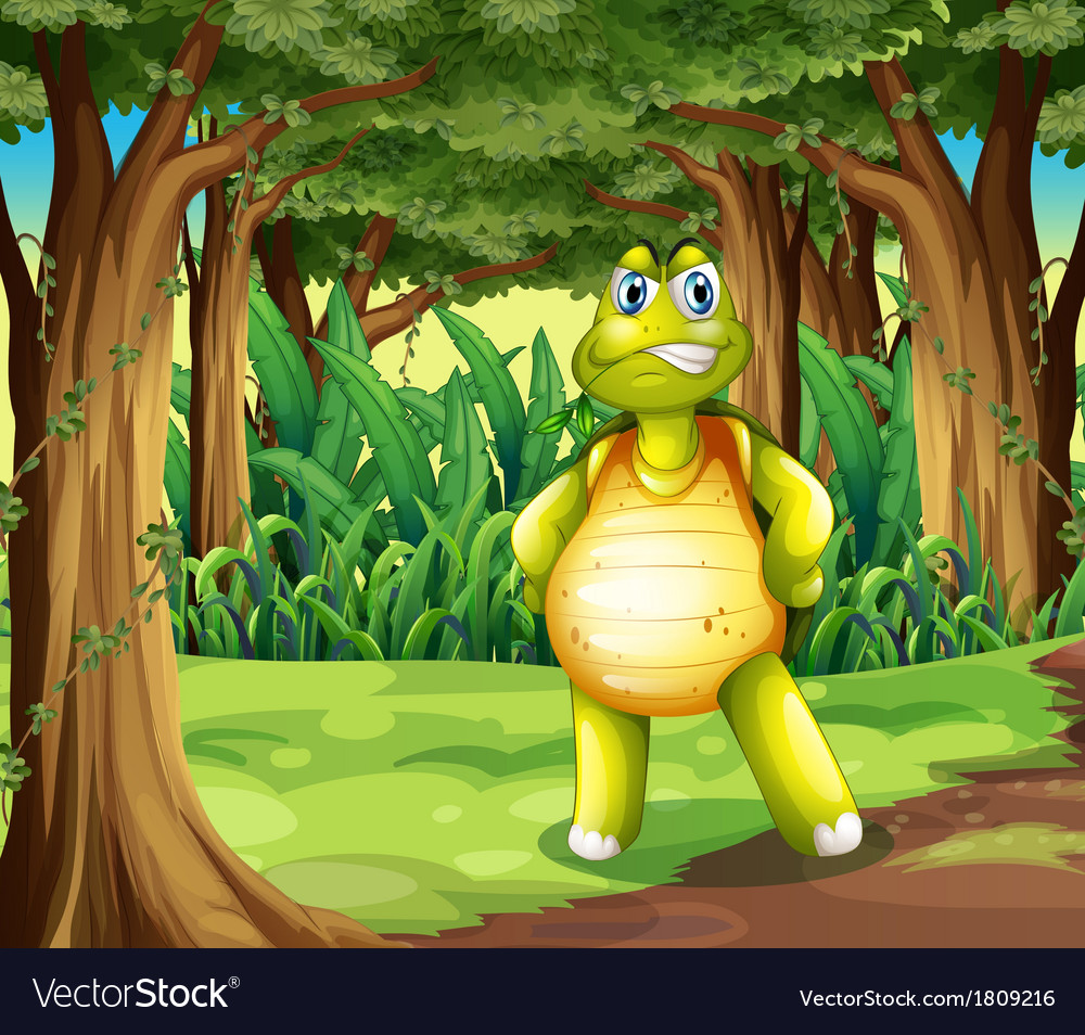 A forest with a turtle standing in the middle of vector | Price: 1 Credit (USD $1)