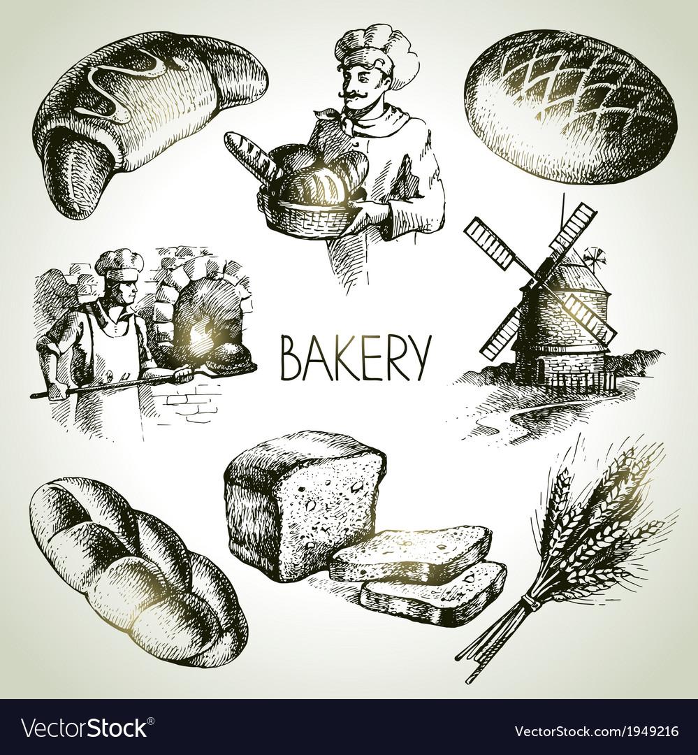 Bakery sketch icon set vector | Price: 1 Credit (USD $1)