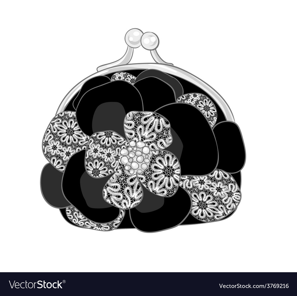 Blackpursewithwhitelace vector | Price: 1 Credit (USD $1)