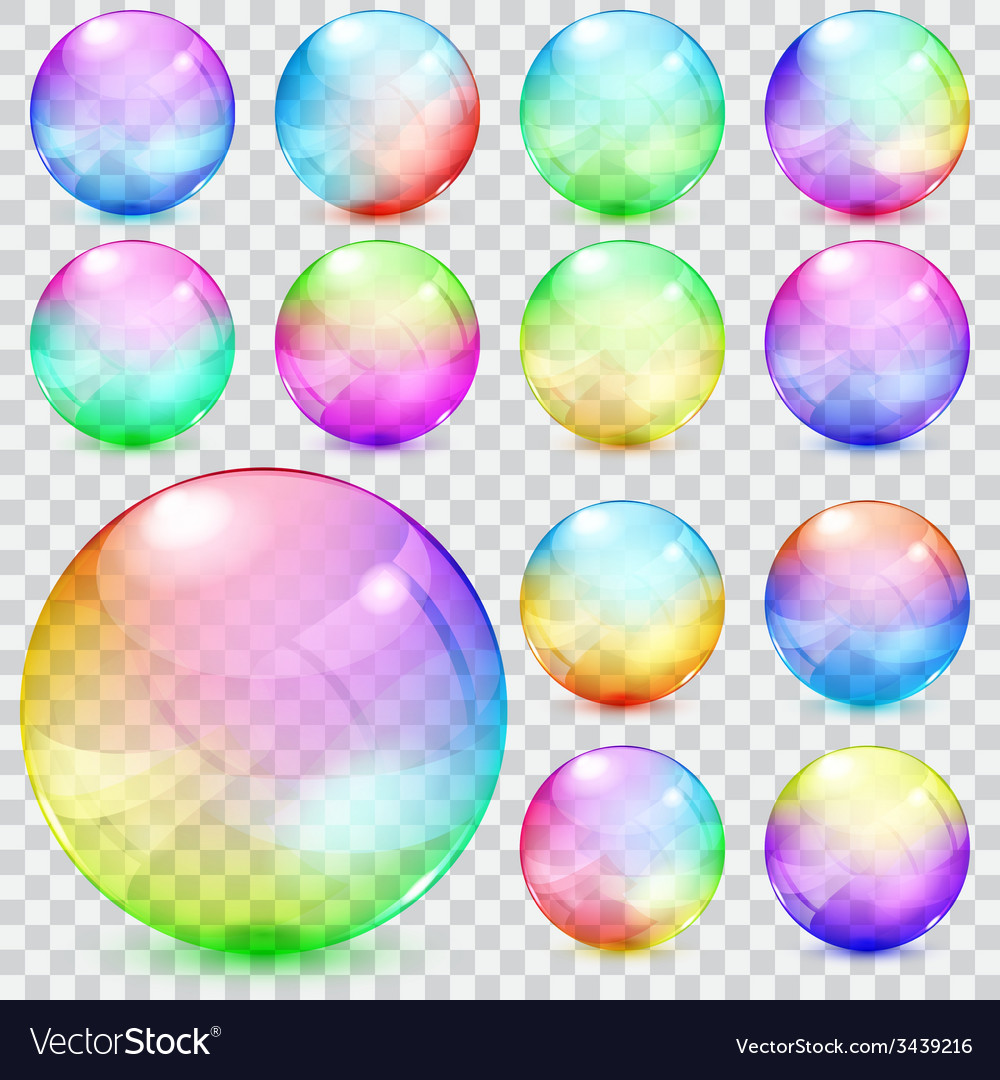 Colorful transparent glass spheres vector | Price: 1 Credit (USD $1)