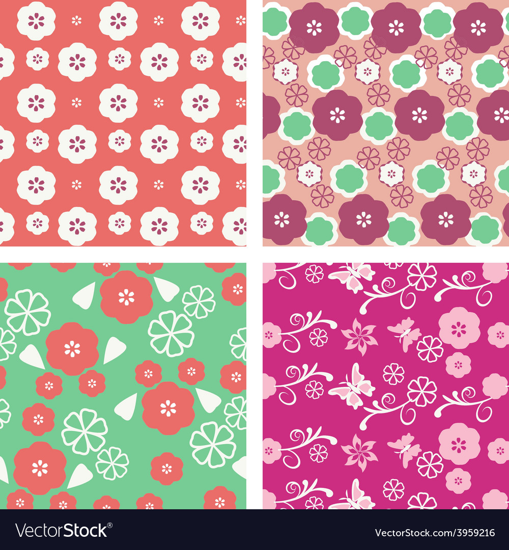 Floral pattern seamless blossom cherry vector | Price: 1 Credit (USD $1)