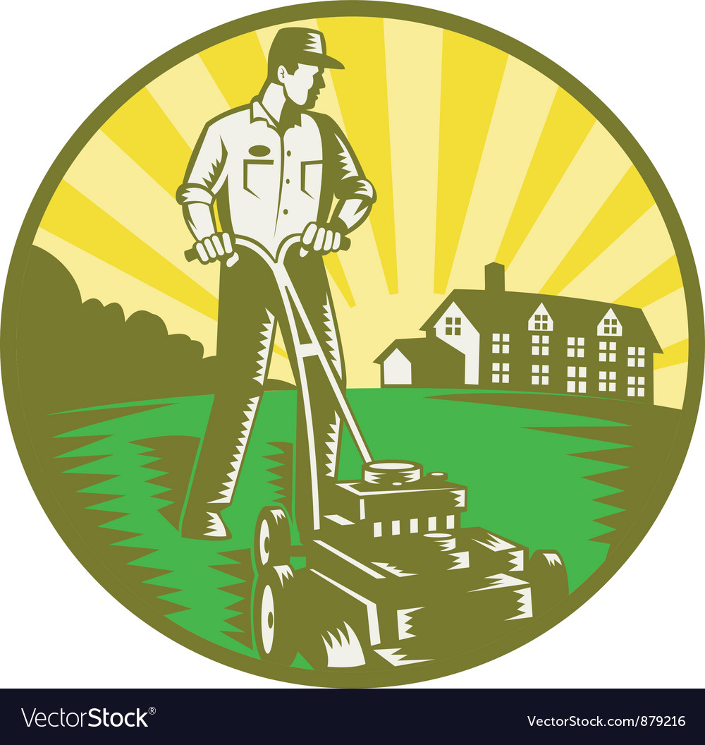 Gardener mowing lawn vector | Price: 1 Credit (USD $1)