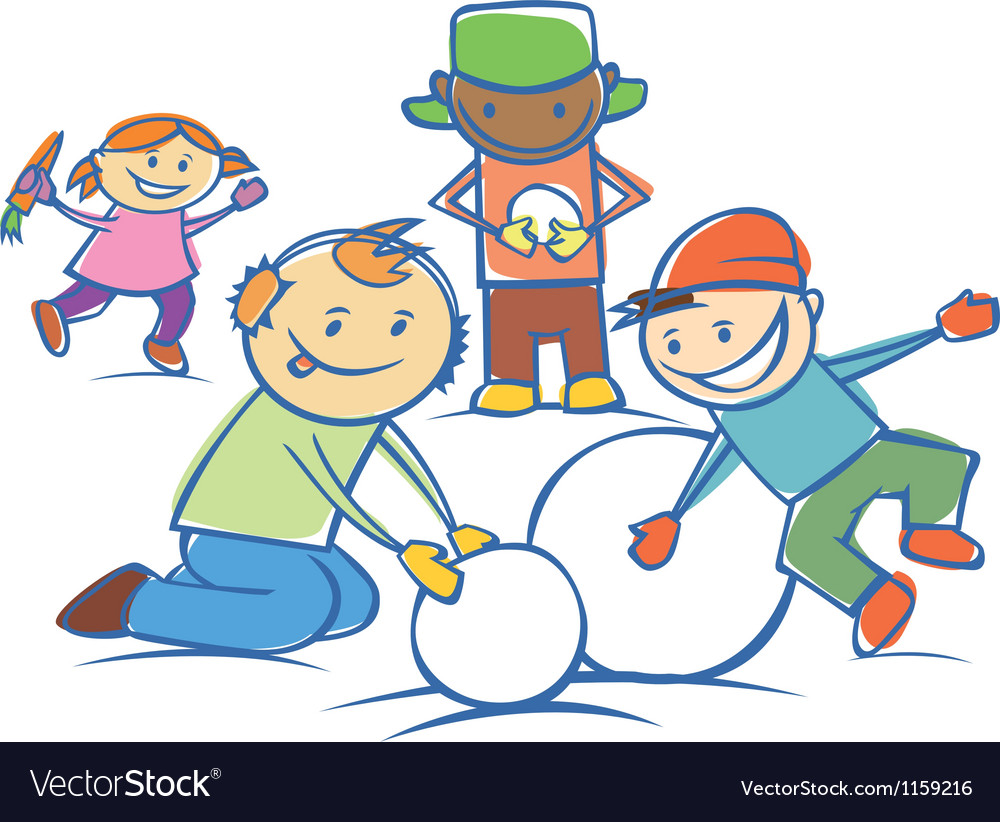 Kids making a snow man isolated vector | Price: 1 Credit (USD $1)