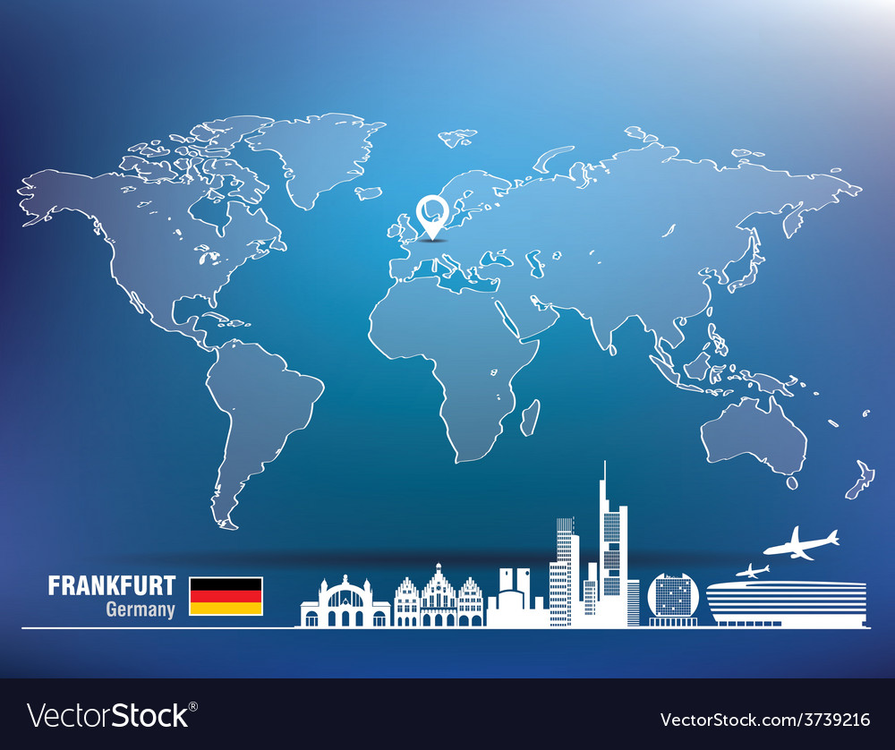 Map pin with frankfurt skyline vector | Price: 1 Credit (USD $1)