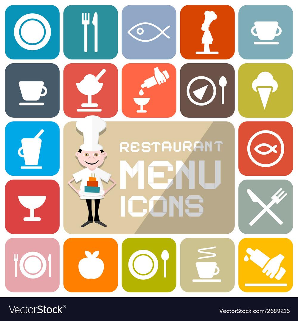 Restaurant menu colorful flat design icons vector | Price: 1 Credit (USD $1)