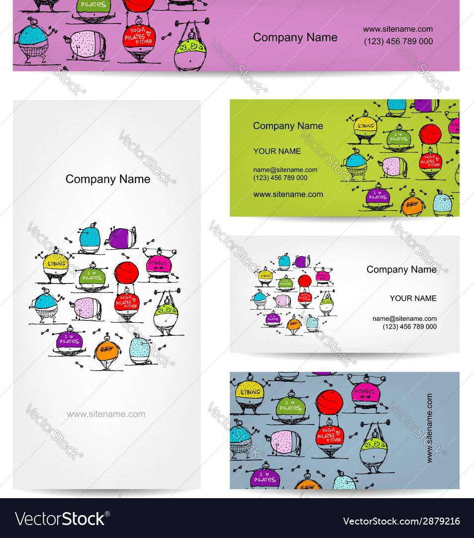 Set of business cards design sport concept design vector | Price: 1 Credit (USD $1)