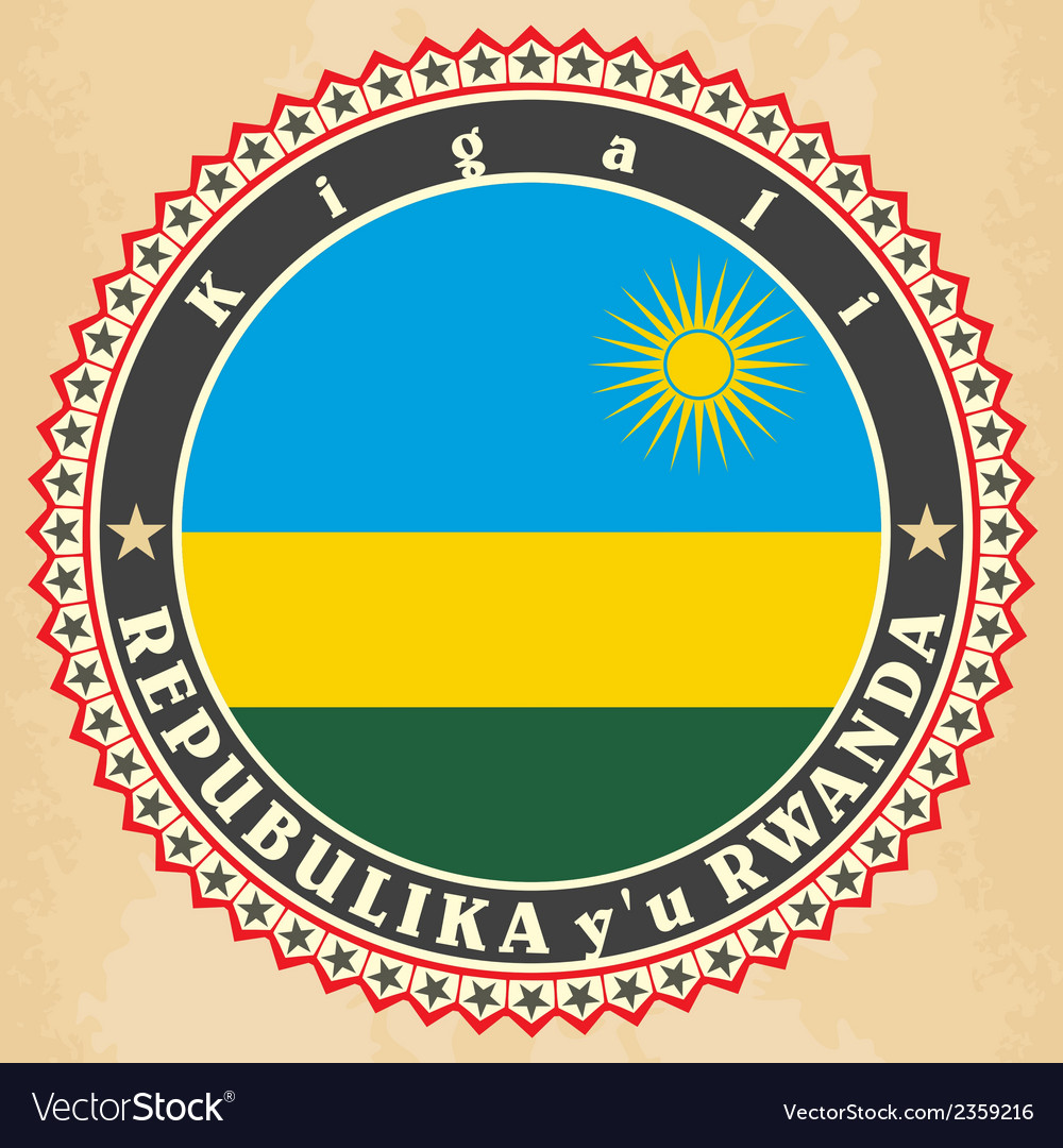 Vintage label cards of rwanda flag vector | Price: 1 Credit (USD $1)