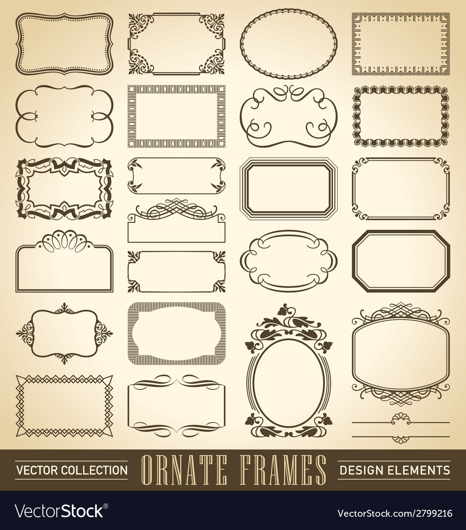 Vintage ornate borders set of 24 vector | Price: 1 Credit (USD $1)
