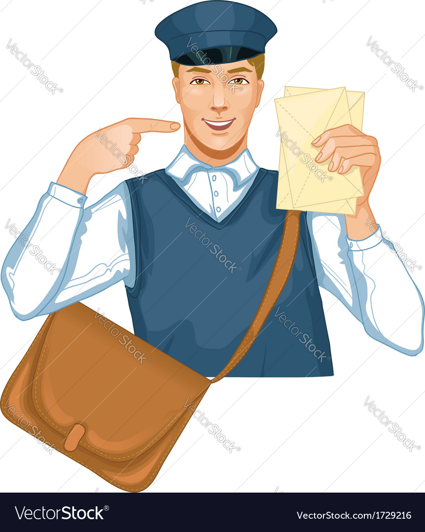 Young postman in a postman uniform with a letter a vector | Price: 1 Credit (USD $1)