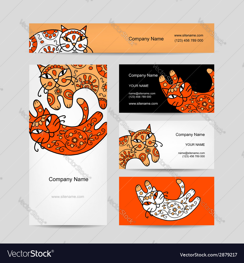 Art cats with floral ornament business cards vector | Price: 1 Credit (USD $1)