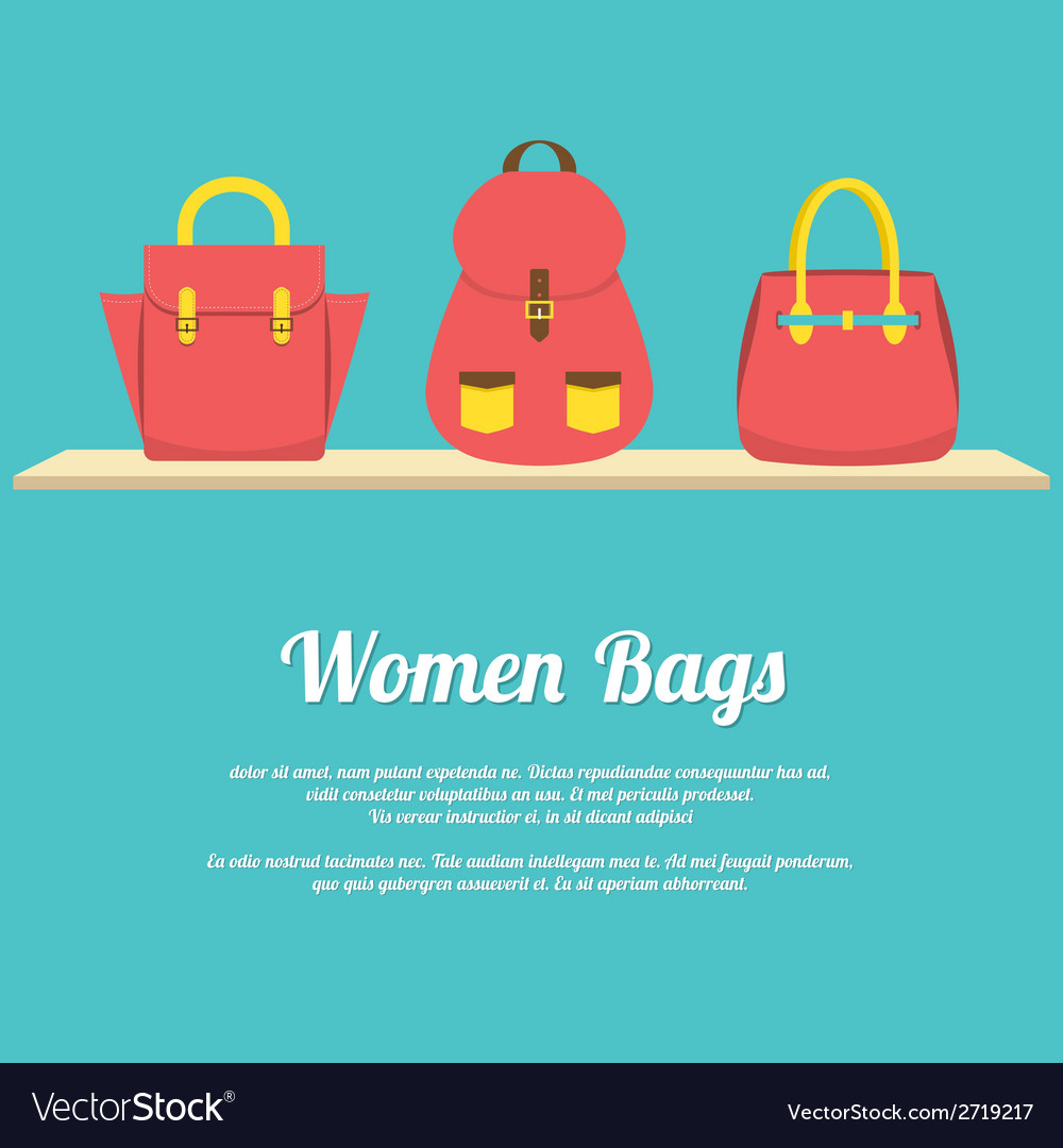 Colorful women handbags display on shelf vector | Price: 1 Credit (USD $1)