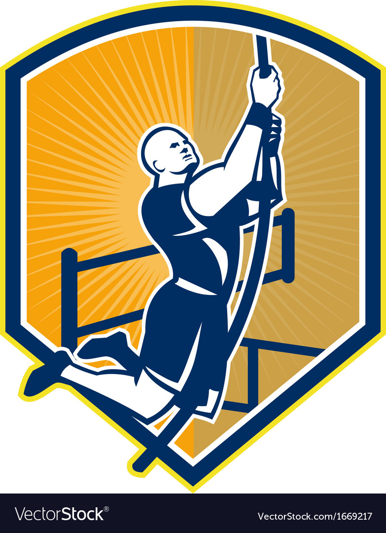 Cross-fit athlete rope climb retro vector | Price: 1 Credit (USD $1)