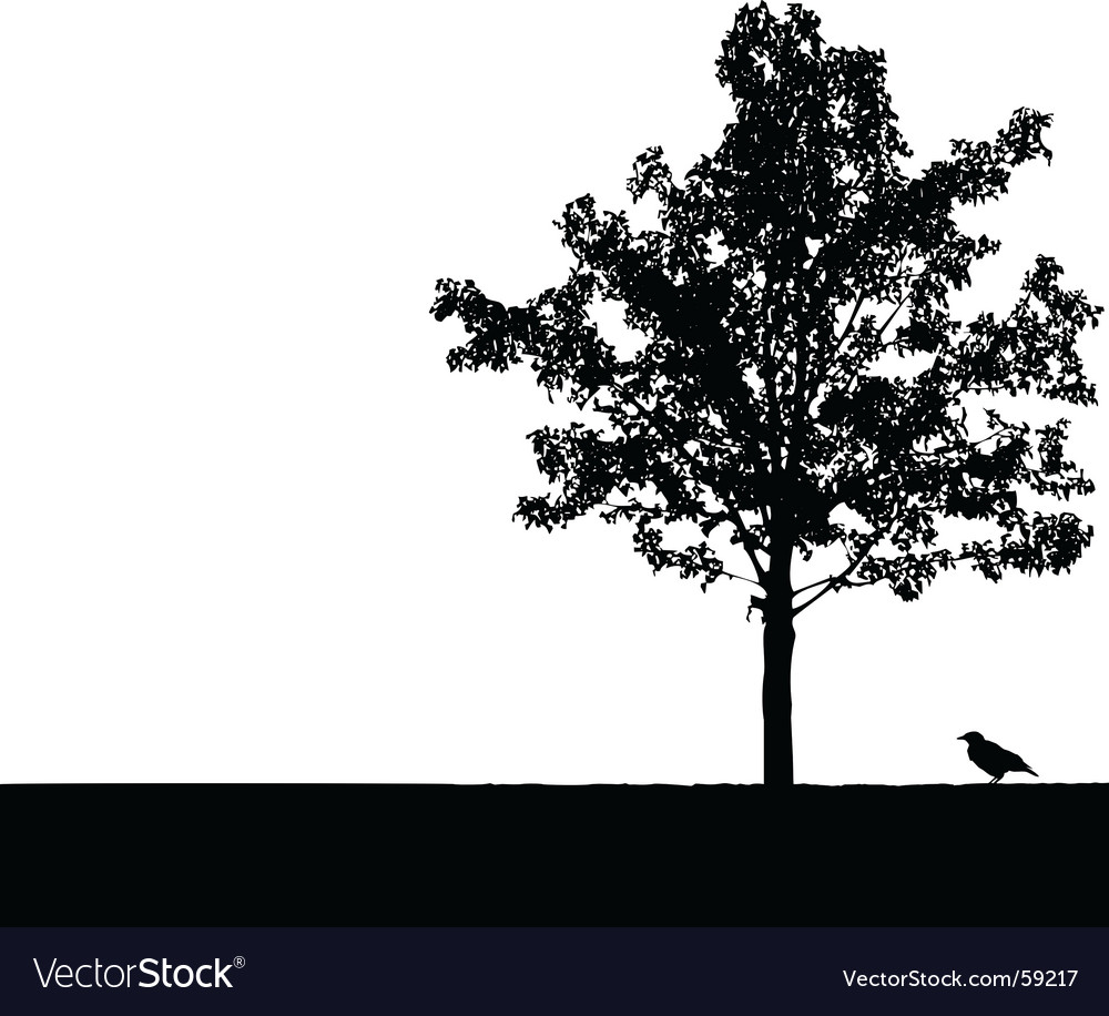 Crow under tree vector | Price: 1 Credit (USD $1)