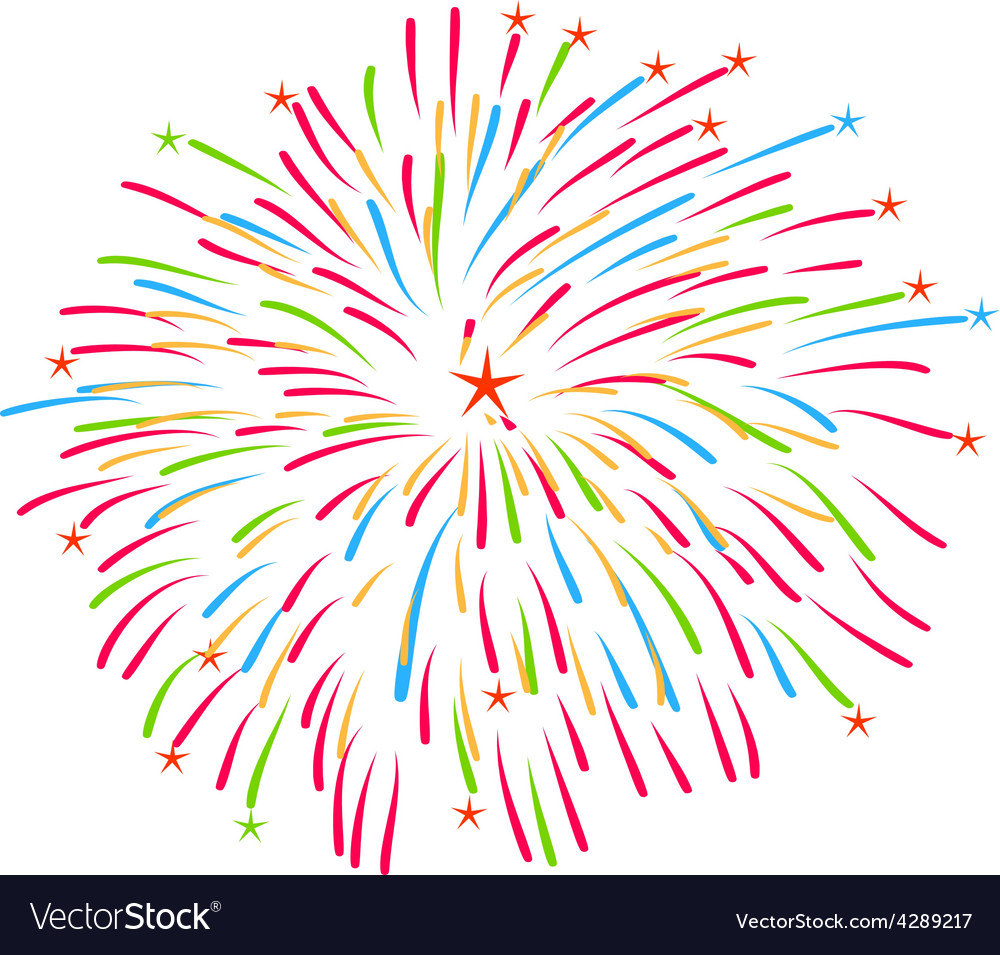 Fireworks on white background vector | Price: 1 Credit (USD $1)