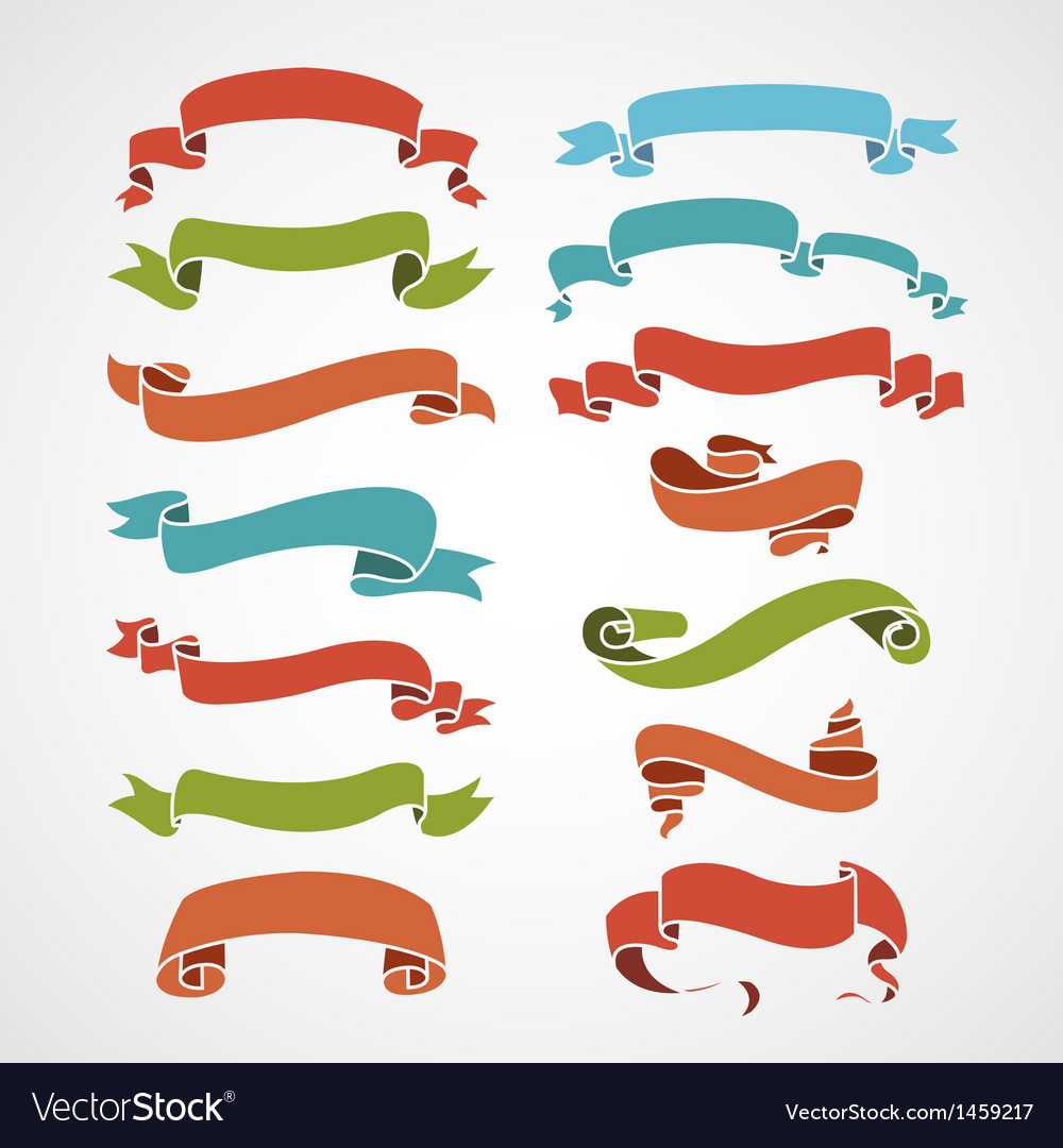 Full color set of vintage ribbons vector   Price: 1 Credit (USD $1)