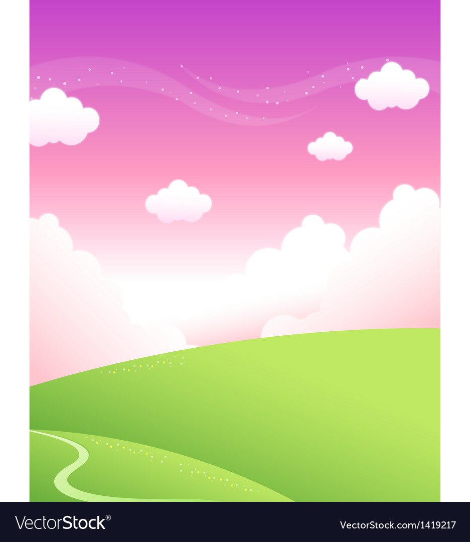Green mountain and sky vector   Price: 1 Credit (USD $1)