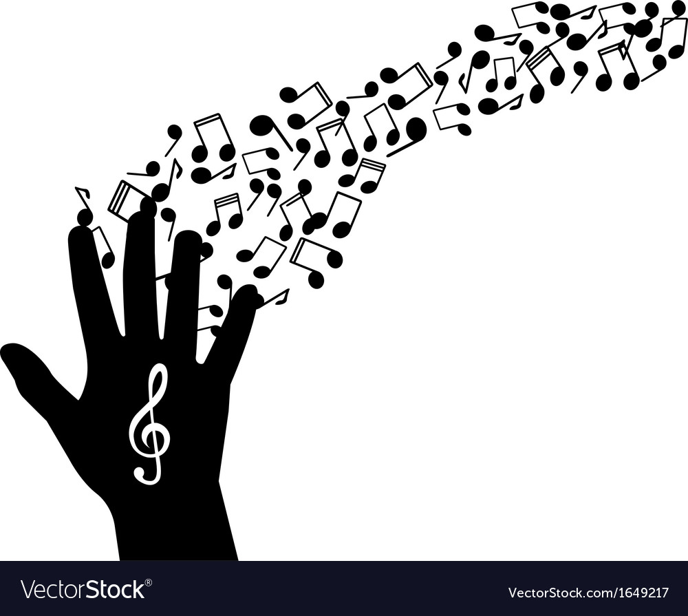 Hand notes and treble clef vector | Price: 1 Credit (USD $1)