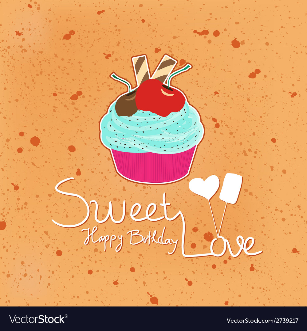 Happy birthday sweet love with cupcakes vector   Price: 1 Credit (USD $1)