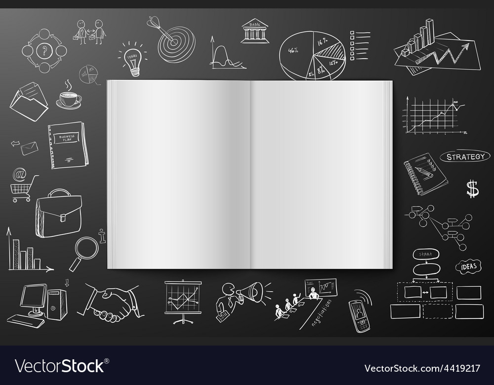 Magazine or book with drawing business strategy vector | Price: 1 Credit (USD $1)