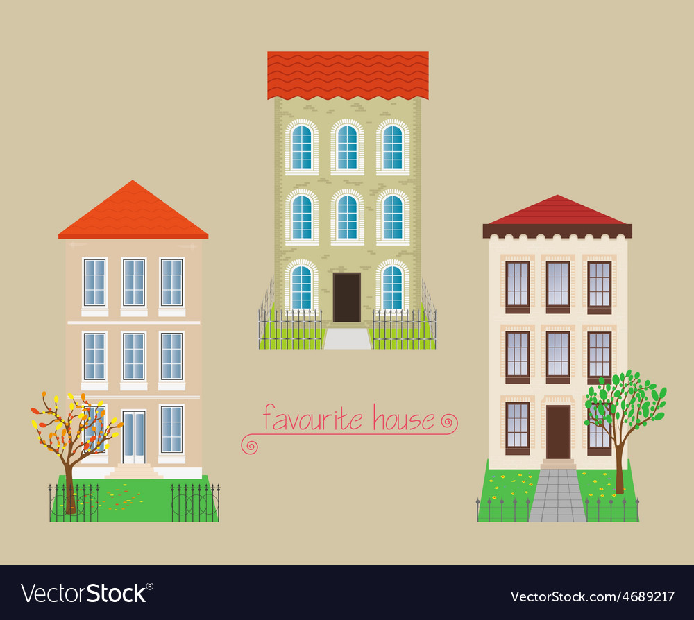 Set from three houses vector | Price: 1 Credit (USD $1)