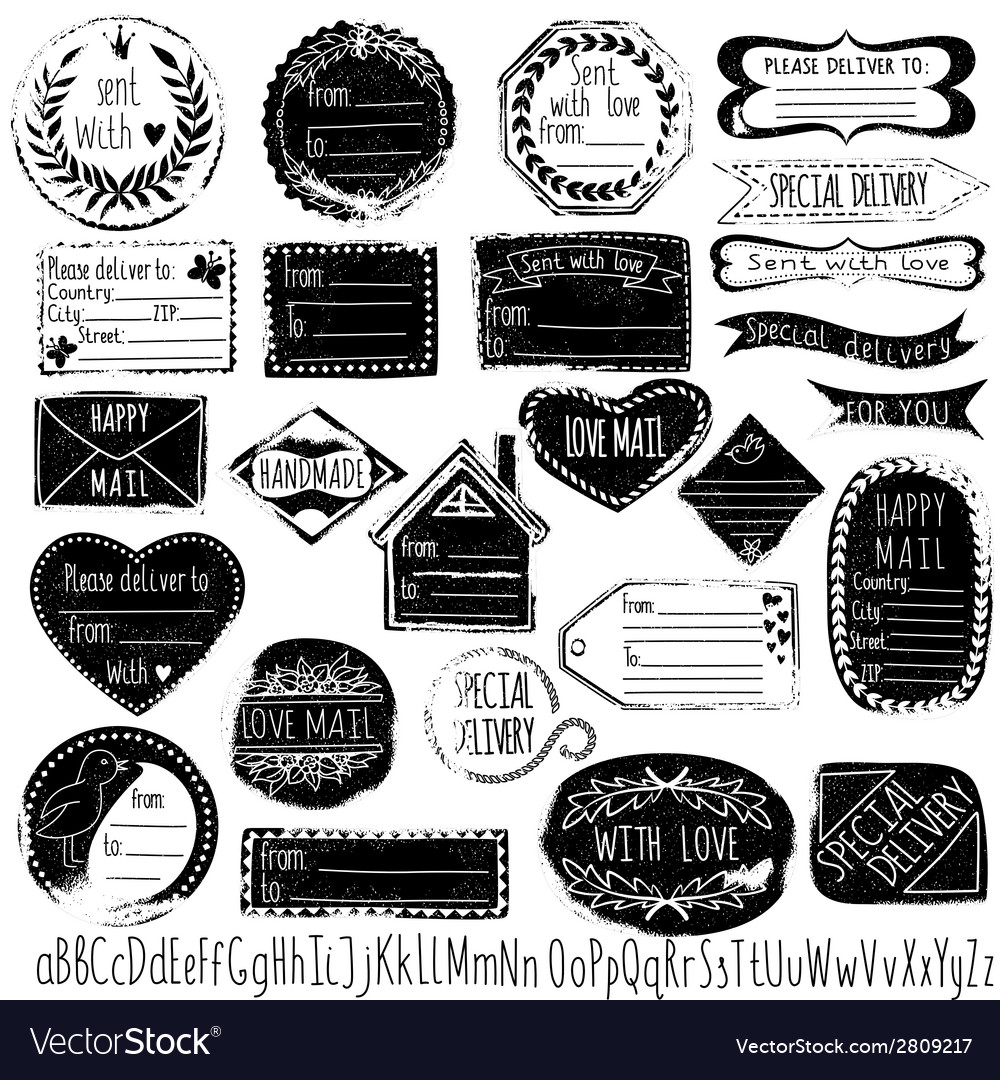 Set of handmade stamps for mail postage delivery vector | Price: 1 Credit (USD $1)