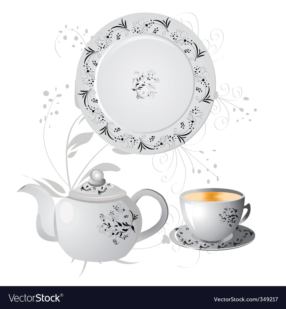 Teapot and china vector | Price: 1 Credit (USD $1)