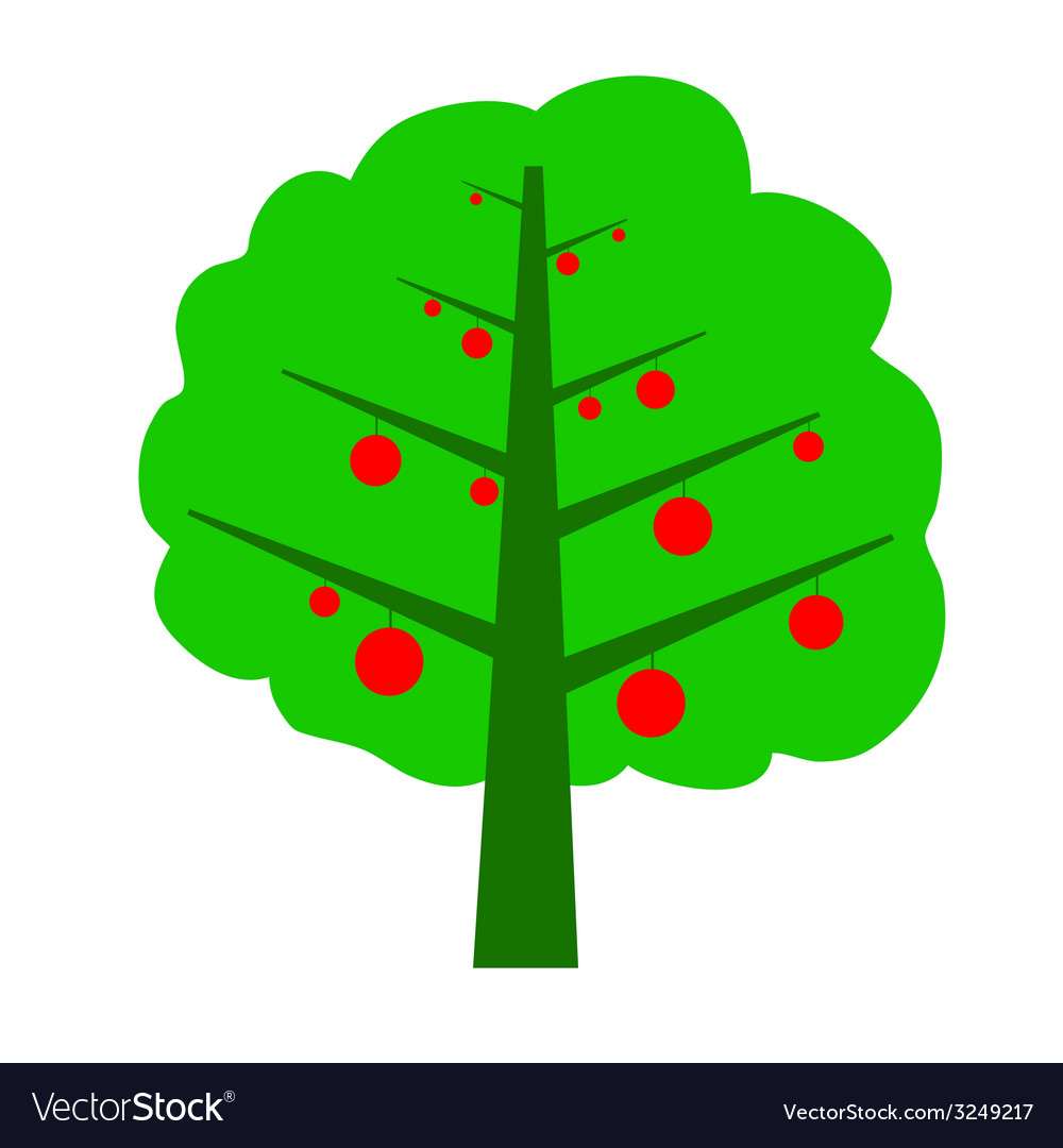 Tree with fruit color vector | Price: 1 Credit (USD $1)