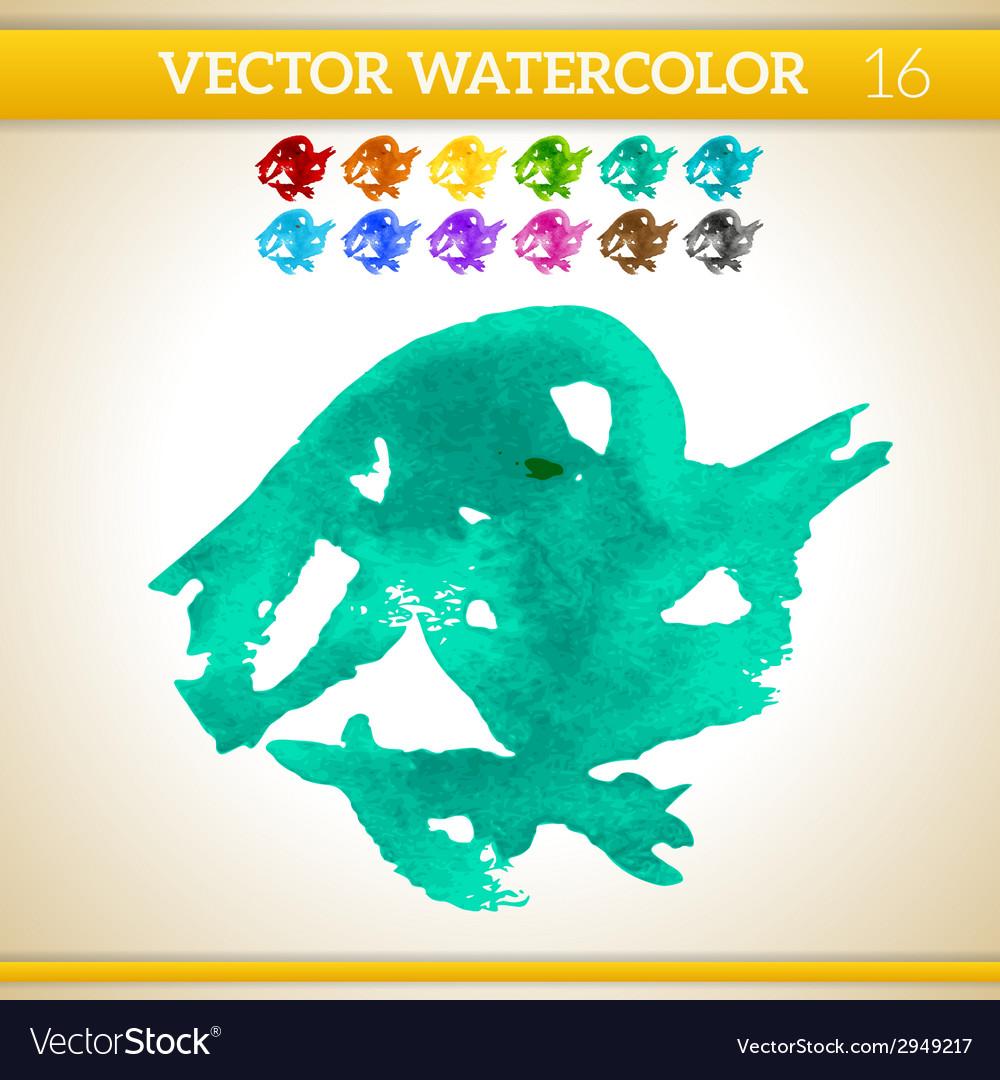 Turquoise watercolor artistic splash for design vector | Price: 1 Credit (USD $1)
