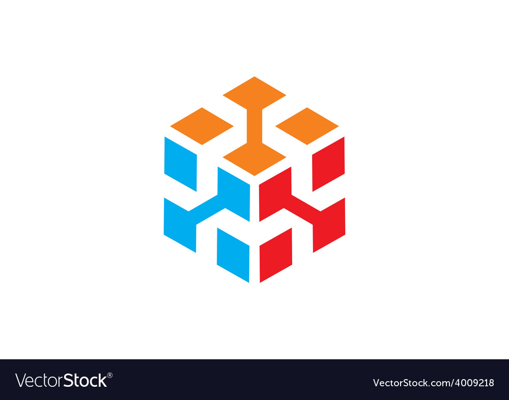 3d cube data abstract logo vector | Price: 1 Credit (USD $1)